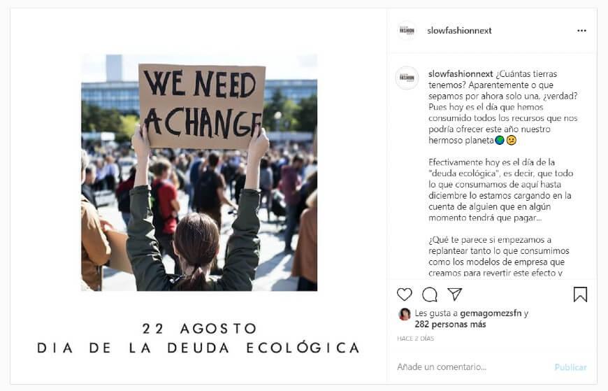 Instagram_Día de la Deuda Ecológica_Slow Fashion Next